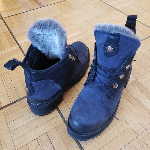 Suede, leather and fur boots